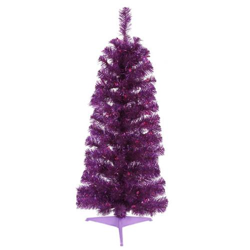 3' Pre-Lit Purple Artificial Pencil Tinsel Christmas Tree - Purple Lights
