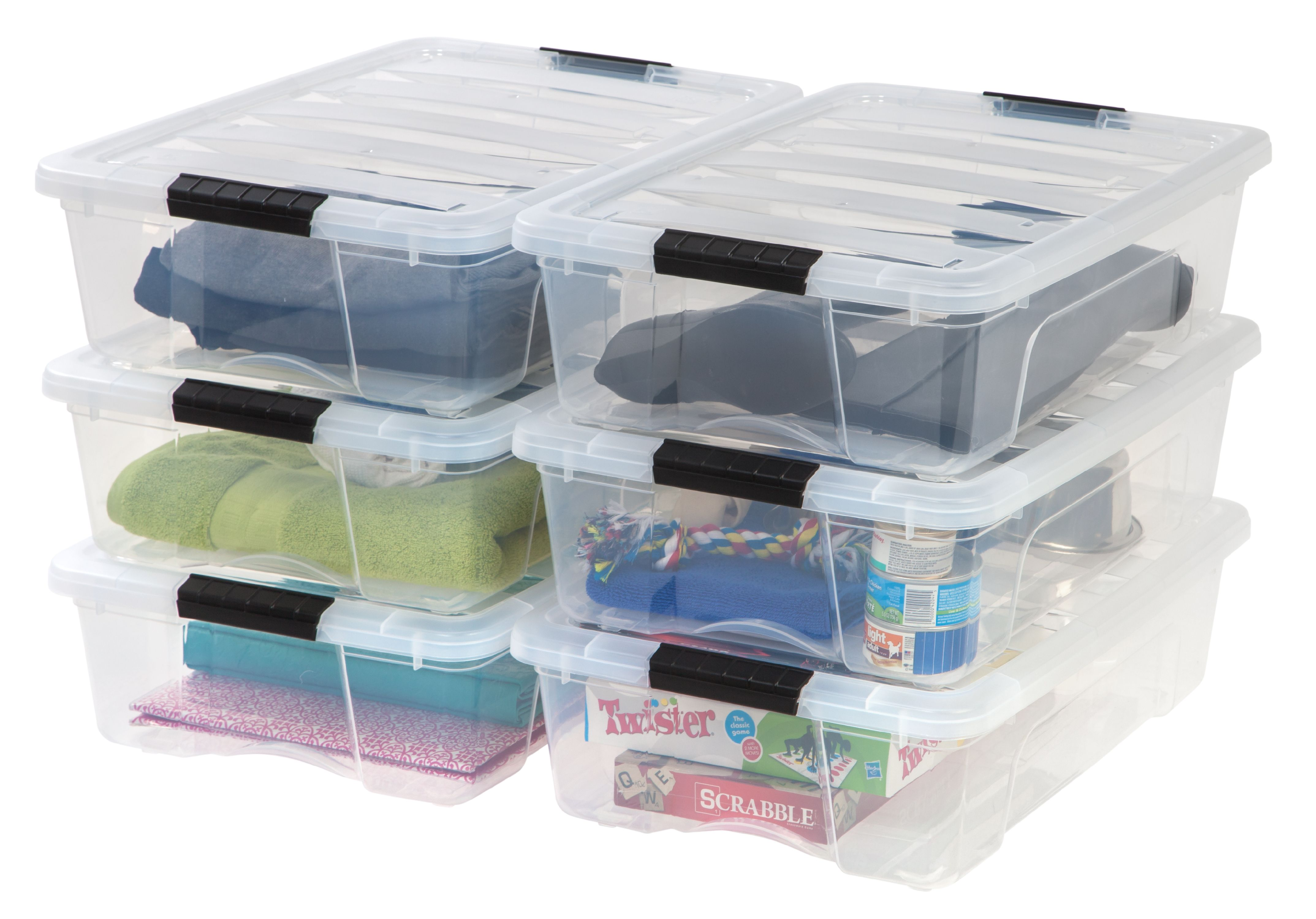 IRIS 26 Qt. Stack U0026 Pull Plastic Storage Box, Clear  Available In Case Of 6  Or Single Unit   Walmart.com