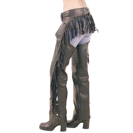 Women's Leather Chaps with Rear Fringe #C766F