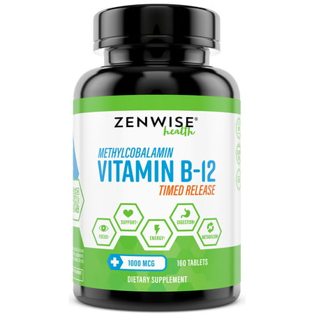 Zenwise Health Vitamin B-12 Timed Release Methylcobalamin Tablets, 160 (Best Vitamin B12 Methylcobalamin)