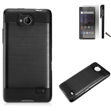 For ZTE Tempo N9131 Case / ZTE Majesty Pro LTE Case Dual Layer Brushed Metal Texture High Impact Armor Hybrid TPU Phone Cover MetaGuard Combo Pack (Black/Black) ()