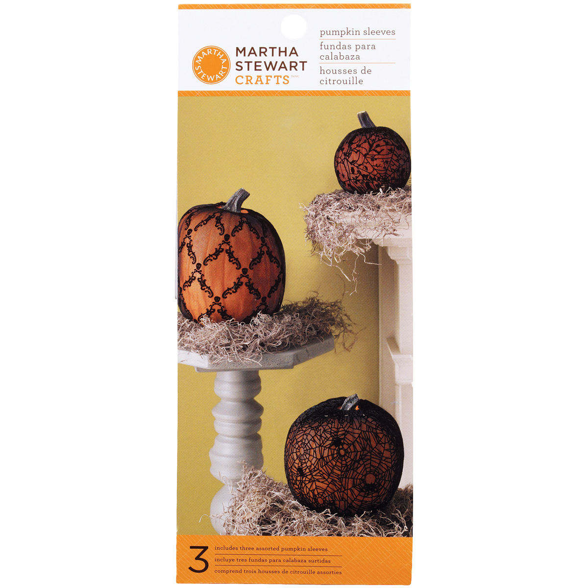 Haunted Pumpkin Sleeves 3/Pkg-Spider/Skull & Crossbones/Damask