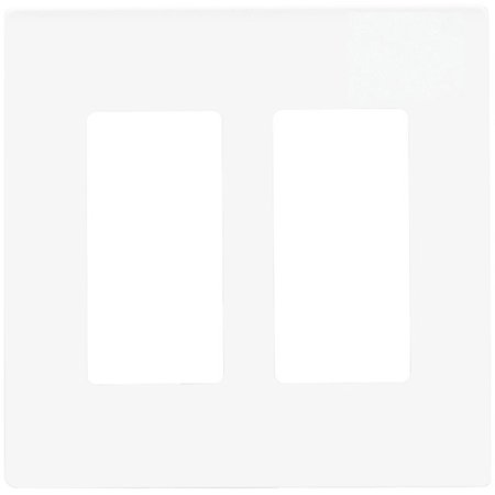 enerlites si8832-w, decorator 2 gang wall plate, screwless, white