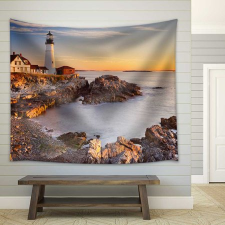 wall26 - The Portland Head Lighthouse in Cape Elizabeth, Maine, USA. Photographed at Sunrise - Fabric Wall Tapestry Home Decor - 68x80