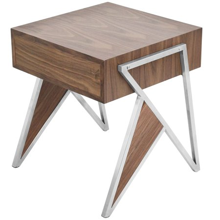 Tetra Contemporary End Table in Walnut Wood and Stainless Steel by LumiSource