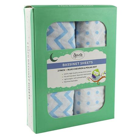Bassinet Sheet Set 100% Jersey Cotton 2 Pack - Blue Chevron and Polka Dots - Dot To Dot Halloween Sheets