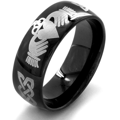 Men's Black-Plated Stainless Steel Claddagh Ring