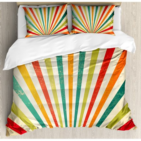 Vintage Rainbow King Size Duvet Cover Set, Vintage Rising Sun Pattern with Colorful Rays Retro Style Illustration, Decorative 3 Piece Bedding Set with 2 Pillow Shams, Multicolor, by (Vintage Style Ray Bans)