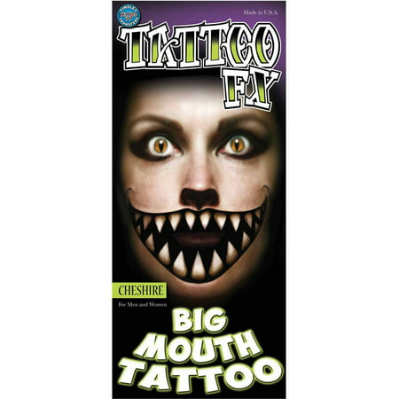 Cheshire Big Mouth Tattoo Adult Halloween Accessory (Cute Halloween Tattoo Flash)