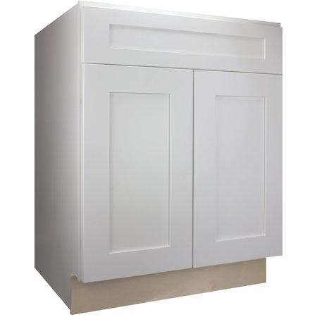Cabinet Mania White Shaker Base Kitchen Cabinet 30 inch Wide Ready to