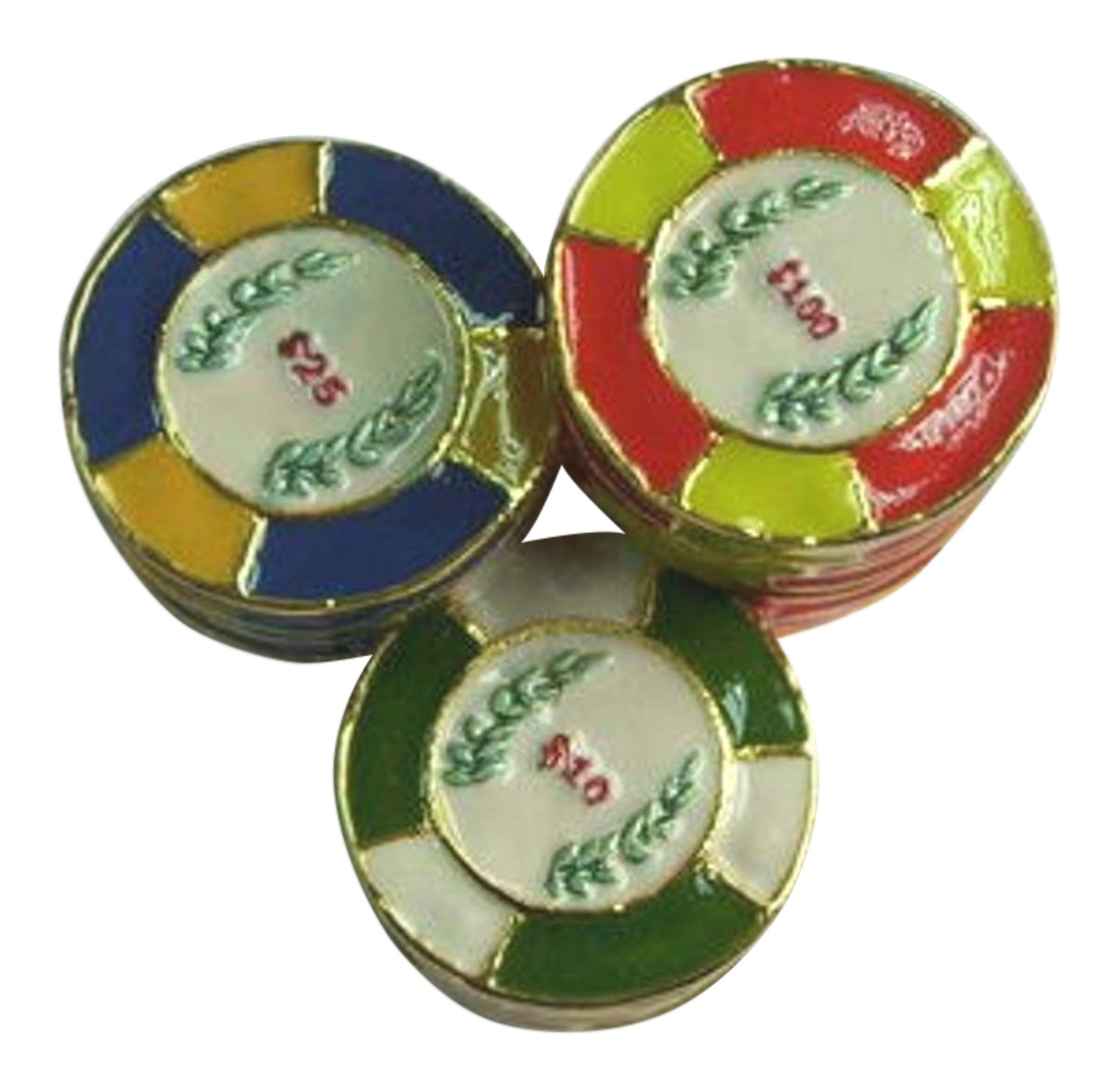 Stack of Gambler's Poker Chips Enameled Hinged Pewter Trinket Box