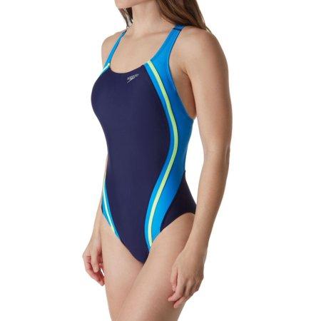337d3d31774bc Women's Speedo 7235051 Powerflex Eco Quantum Splice One Piece Swimsuit  (Starry Blue ...
