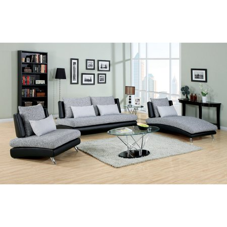 Awesome Furniture Of America Cole 3 Piece Fabric And Faux Leather Sofa Set Gray Black Pabps2019 Chair Design Images Pabps2019Com