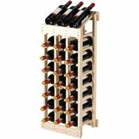 Gymax 24 Bottle Wood Wine Rack 3 Column 8 Row Storage Display Shelf Free Standing