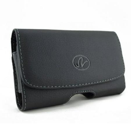 Black Leather Phone Case Compatible With Samsung Intensity U450 2 U460, Highlight T749, Gravity T, Gem SCH-i100, GALAXY Music Fit Appeal, Freeform R350 2 r360, Flight SGH-A797 2 A927 V5Z