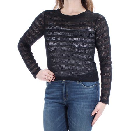 - BAR III Womens Black Sheer  Mesh Long Sleeve Crew Neck Top  Size: M