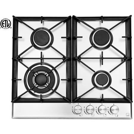 Ramblewood High Efficiency 4 Burner Natural Gas Cooktop, Sealed Burner