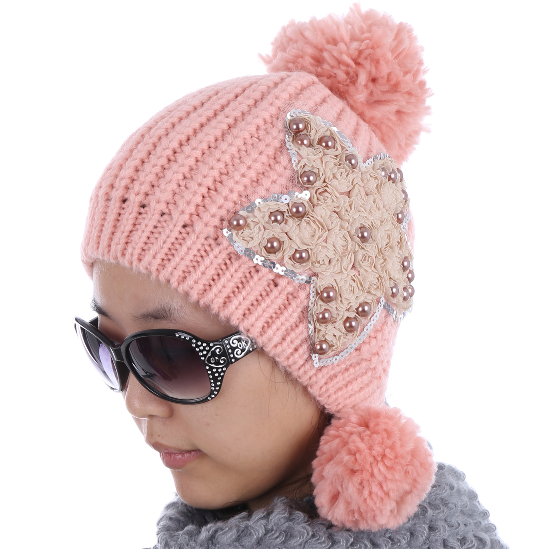 Women Beads Embellished Pom Pom Warm Fashion Hat Pink