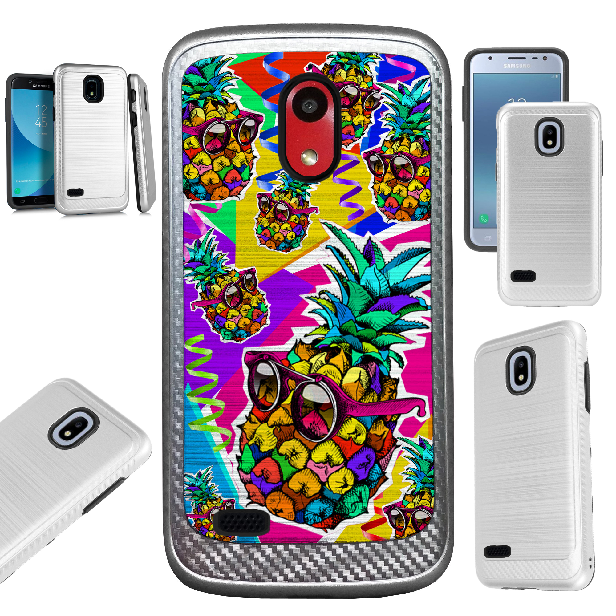 For AT&T Axia (2018) Case Brushed Metal Texture Hybrid TPU Artillery Phone Cover (Pineapple Party)