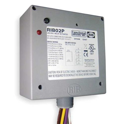 FUNCTIONAL DEVICES INC / RIB RIB02P Enclosed Pre-Wired Relay, DPDT, 20A@300VAC