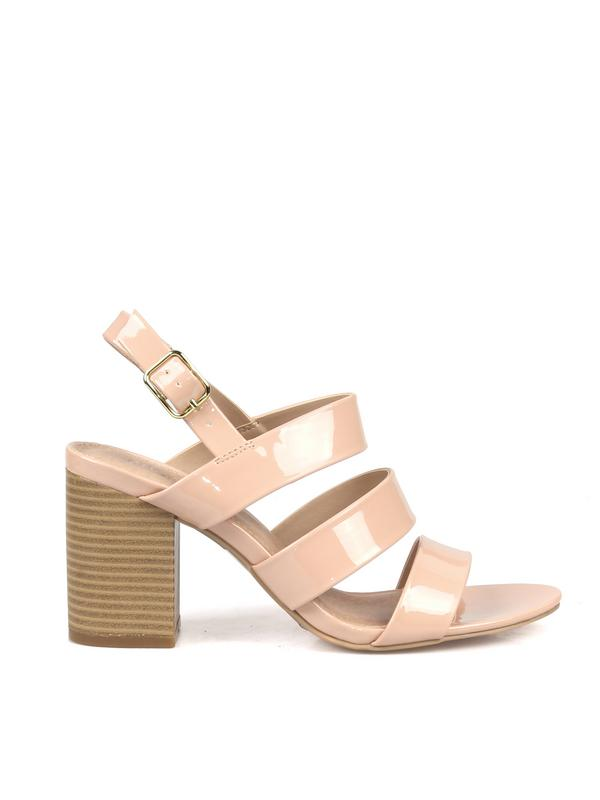 Fahrenheit Strappy Women's Chunky High Heel Sandals in Nude