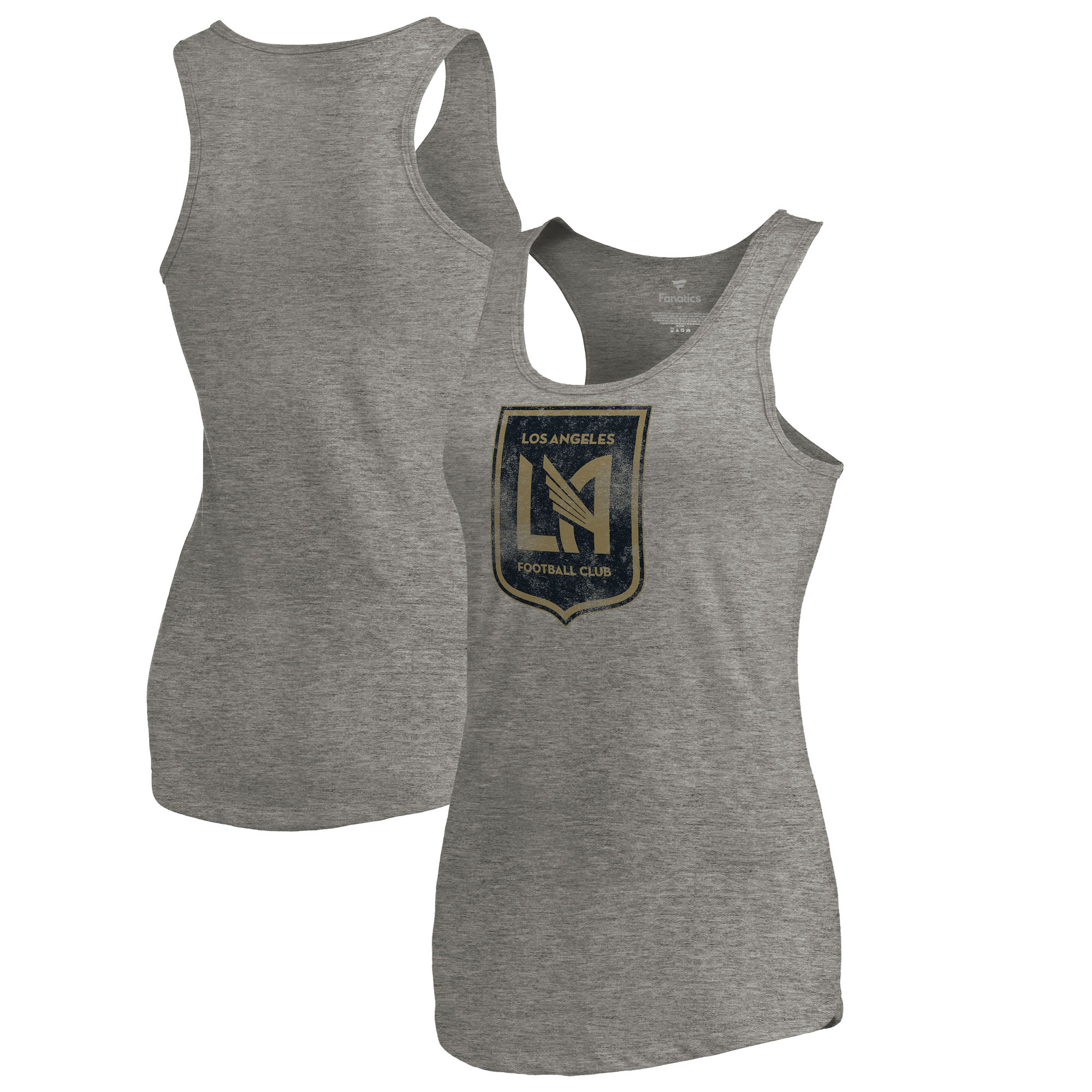 LAFC Fanatics Branded Women's Distressed Primary Logo Tri-Blend Tank Top - Heathered Gray