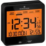 MARATHON CL030054BK Atomic Humidex Clock with Calendar, Temperature, Heat & Comfort Index - Backlight, Snooze and Loud