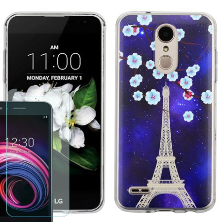 Phone Case for LG Rebel 4 LTE / Risio 3 / Fortune 2 / Zone 4 / Phoenix 4, Slim-Fit TPU Case with Tempered Glass Screen Protector, by OneToughShield ® - Eiffel Tower Stars Phoenix Stair Kit