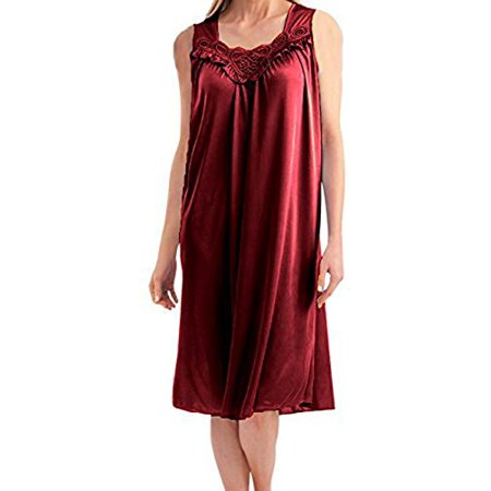 Women's Faux Silk and Lace Sleeveless Nightgown By EZI