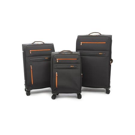 iFLY Softside Luggage Omni 3 piece set, Black/Orange