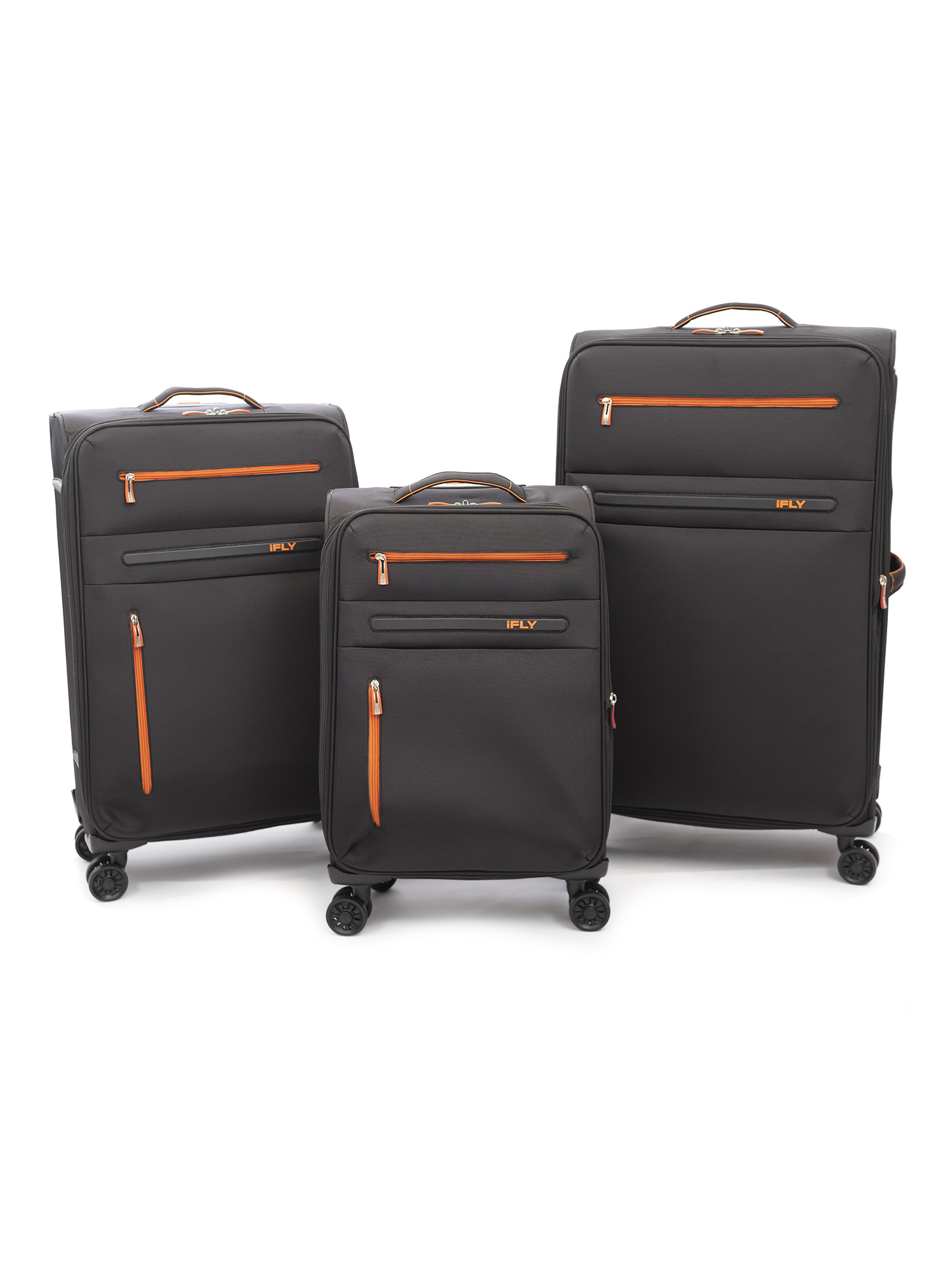 iFLY Soft Sided Luggage Omni 3 piece set, Black/Orange