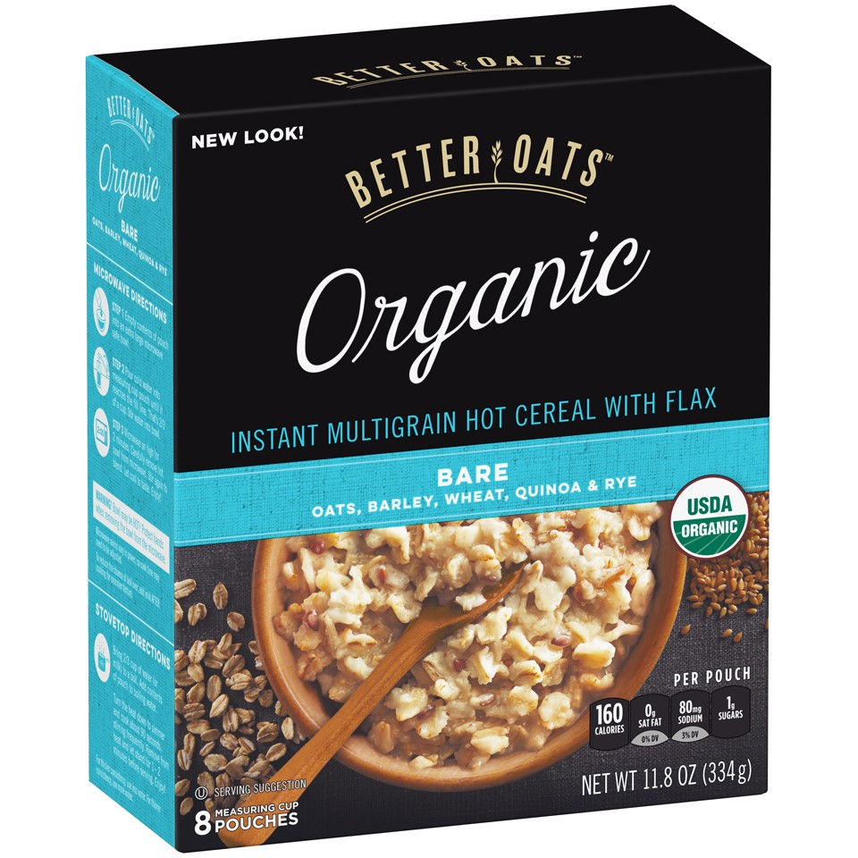Better Oats® Organic Bare Instant Multigrain Hot Cereal with Flax 11.8 oz. Box