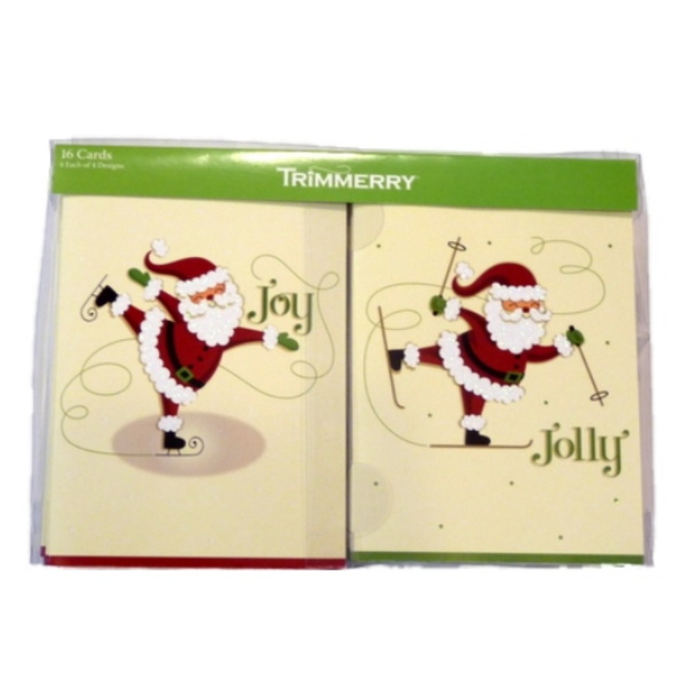 Trimmery Beige Santa Joy Jolly Merry Peace Christmas Cards Holiday Xmas