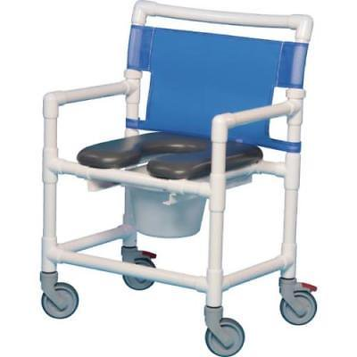 Shower Commode Chair Gray Soft Seat Footrest Lap Bar 400