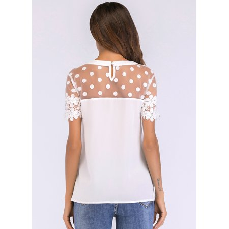 Women Chiffon Blouse Sheer Mesh Floral Crochet Lace Polka Dot Short Sleeve Elegant Solid Tops White - image 3 de 7