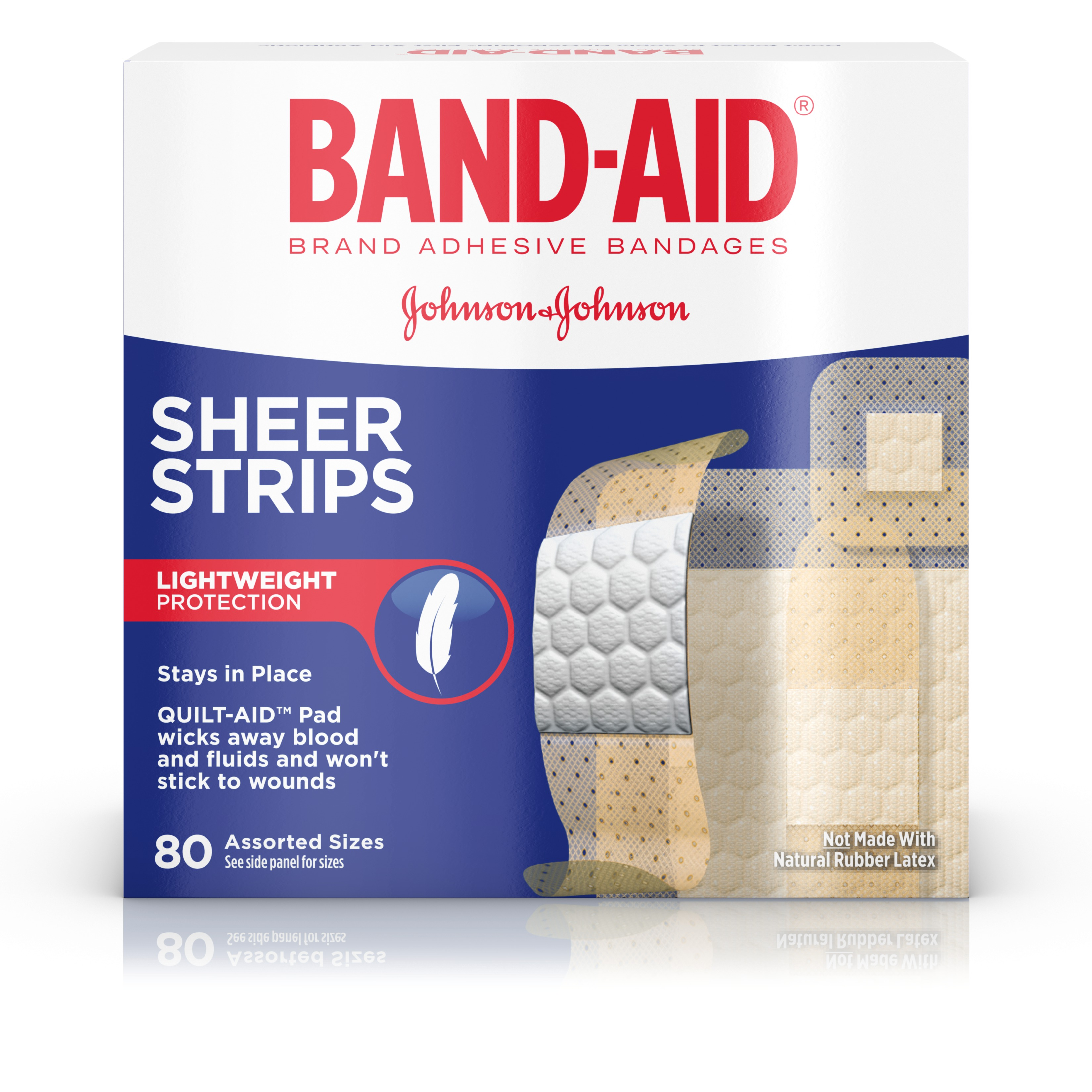 BAND-AID Brand Sheer Strips Adhesive Bandages, Basic Care Assorted Sizes, 80 Count by Johnson & Johnson