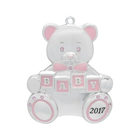 Engravable Christmas Ornaments (Baby Girl Teddy Bear 2017 Baby's First Christmas (Engravable) Harvey Lewis Silver-plated Ornament - Made with 9 Swarovski)