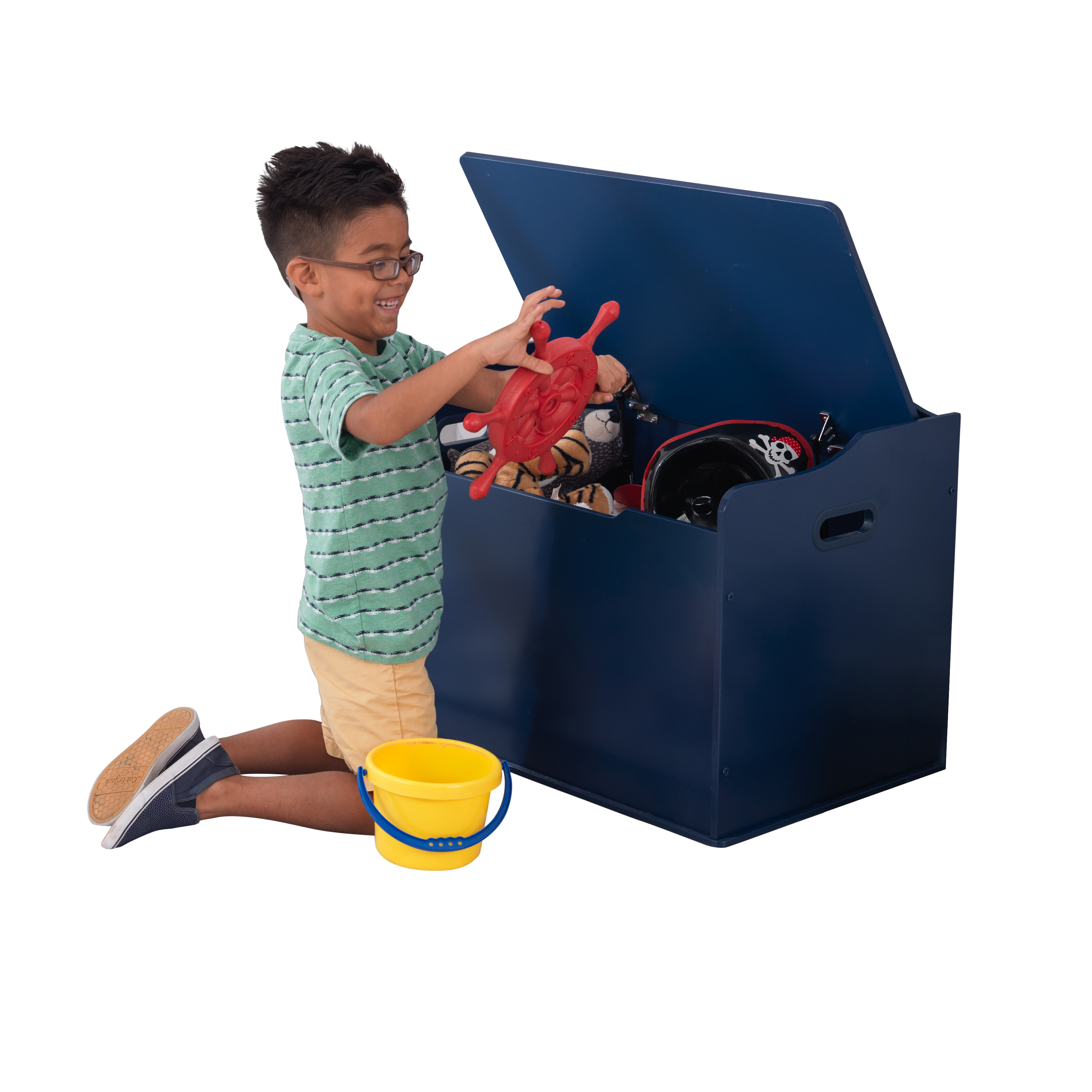 KidKraft Austin Wooden Toy Box/Bench with Safety Hinged Lid - Blueberry
