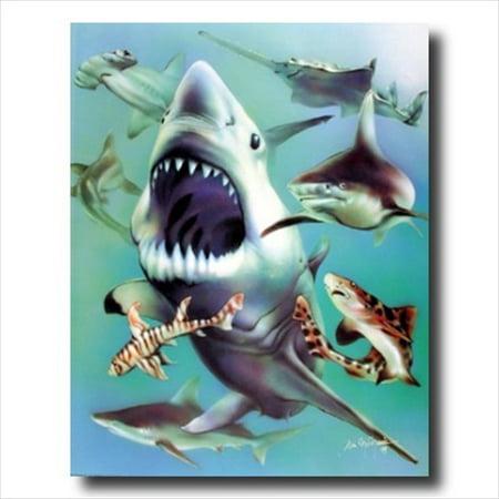 Ocean Shark Collage Kids Room Wall Picture Art Print
