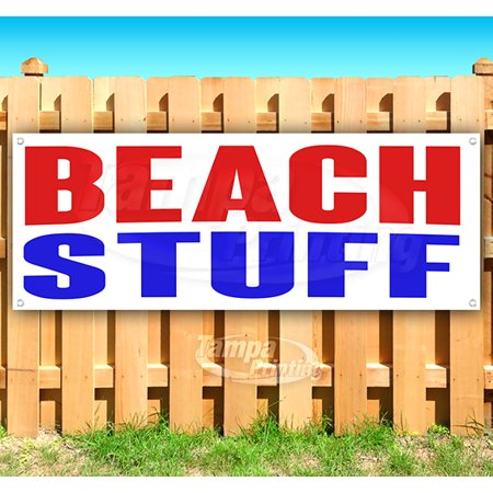 Image of BEACH STUFF 13 oz heavy duty vinyl banner sign with metal grommets, new, store, advertising, flag, (many sizes available)