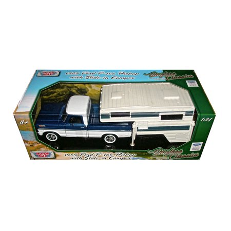 1969 Ford F-100 Pickup Truck with Slide-In Camper Blue and White 1/24 Diecast Model by Motormax