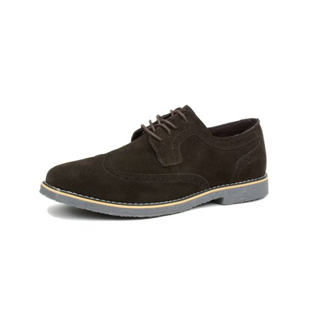 Perforated Wing Tip - Alpine Swiss Beau Mens Dress Shoes Genuine Suede Wing Tip Brogue Lace Up Oxfords