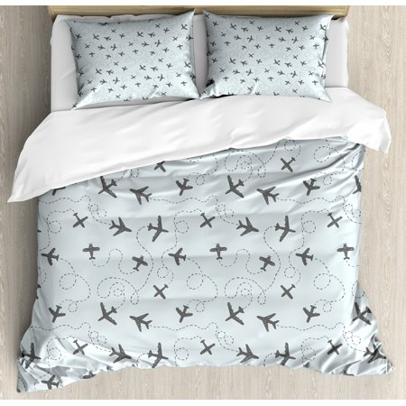 Grey Blue Queen Size Duvet Cover Set, Aeroplanes with Flight Patterns Swirled Lines Sketch Style Air Vehicles, Decorative 3 Piece Bedding Set with 2 Pillow Shams, Pale Blue and Grey, by (Air Jordan 1 Flight 3 Cool Grey)