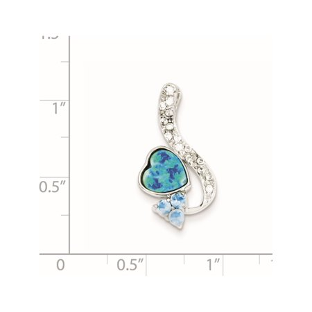925 Sterling Silver Created Opal & Blue CZ (13x24mm) Pendant / Charm - image 1 of 2