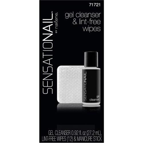 SensatioNail Gel Cleanser & Lint-Free Wipes, 71721, 14 pc