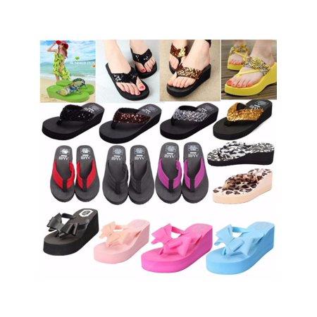 Meigar Women Casual Sandals Platform Wedge Flip Flops Sequin Beach Slippers