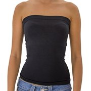 TD Women's Plain Stretch Seamless Strapless Mid Tube Top (Black)