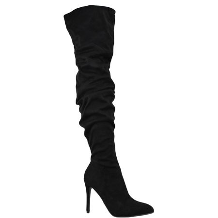 - KARAT Stiletto Heels Women Boots Over The Knee Thigh High Slouchy Delicious Suede Black