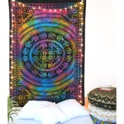 Tie Dye Mandala Elephant Tapestry Beach Throw Blanket Boho Hippie Tapestry College Dorm Room Ethnic Indian Wall Hangings by Oussum