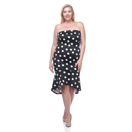 OFASHIONUSA Women\'s Plus Size Polka Dot Tube Dress (3XL, Black/White)